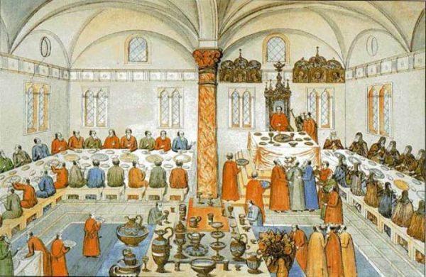Царский пир в Кремле в 1613 г. Миниатюра из «Книги избрания на превысочайший престол…» Фото: pinterest.ru