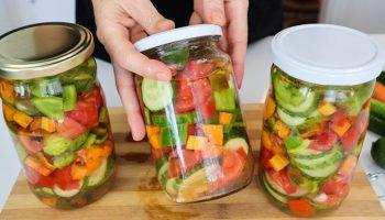 Без маринада и стерилизации – закатка овощей на зиму, получаются как свежие