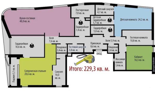 План квартиры Петросяна и Брухуновой. Фото kitchendecorium.ru